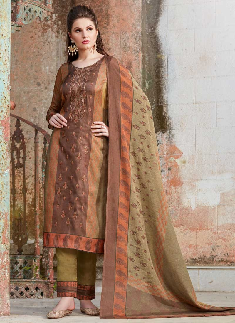 Tussar Silk Brown and Olive Pant Style Pakistani Salwar Kameez