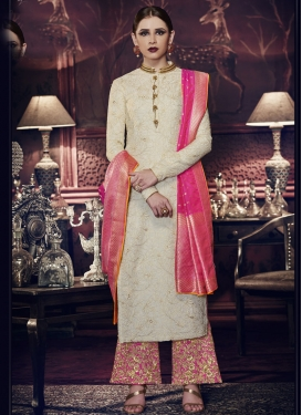 Tussar Silk Cream and Rose Pink Palazzo Style Pakistani Salwar Kameez