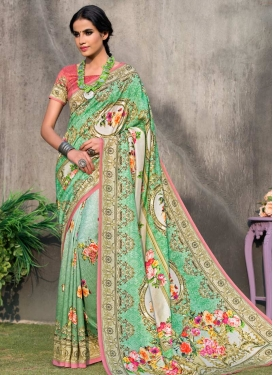 Tussar Silk Digital Print Work Classic Saree