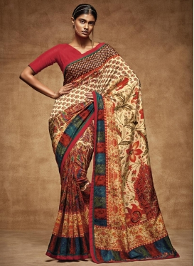 Tussar Silk Digital Print Work Contemporary Saree