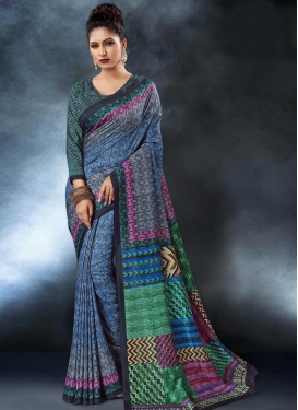 Tussar Silk Digital Print Work Contemporary Style Saree