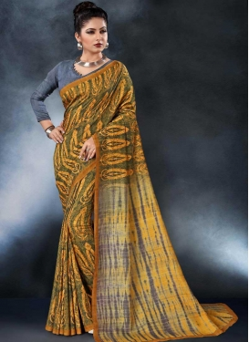 Tussar Silk Digital Print Work Grey and Mustard Trendy Classic Saree