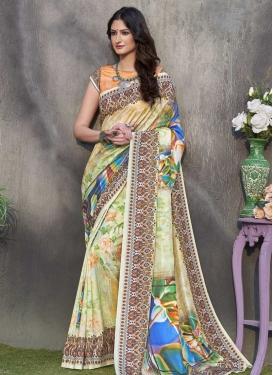 Tussar Silk Digital Print Work Trendy Saree