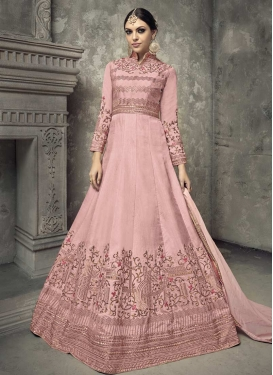 Tussar Silk Embroidered Work Long Length Anarkali Suit