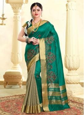 Tussar Silk Half N Half Designer Saree