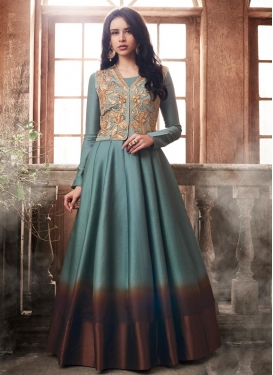 Tussar Silk Jacket Style Anarkali Suit
