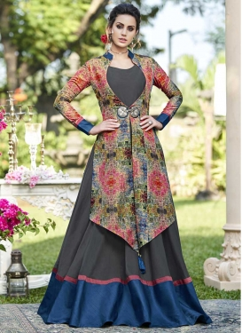 Tussar Silk Layered Designer Salwar Suit For Festival