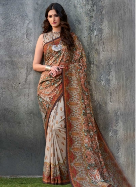 Tussar Silk Off White and Rust Contemporary Style Saree