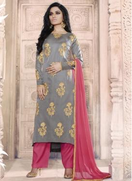 Tussar Silk Pant Style Salwar Kameez