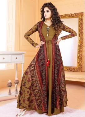 Tussar Silk Print Work Readymade Designer Gown