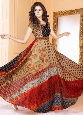 Tussar Silk Readymade Floor Length Gown For Festival