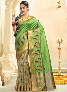 Tussar Silk Resham Work Beige and Mint Green Half N Half Trendy Saree