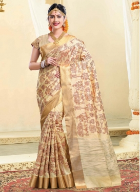 Tussar Silk Resham Work Contemporary Style Saree