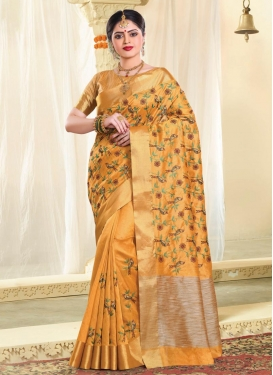 Tussar Silk Resham Work Traditional Saree
