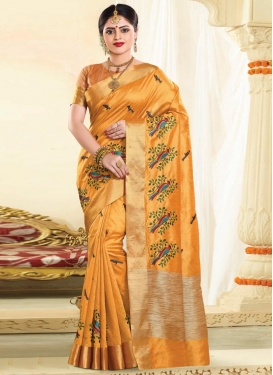 Tussar Silk Resham Work Trendy Saree