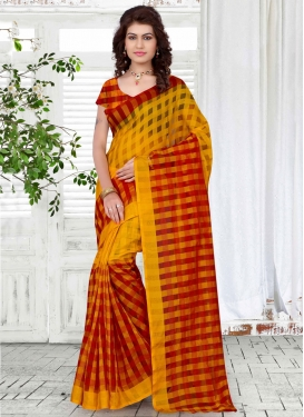 Unique Art Silk Yellow And Red Color Casual Saree
