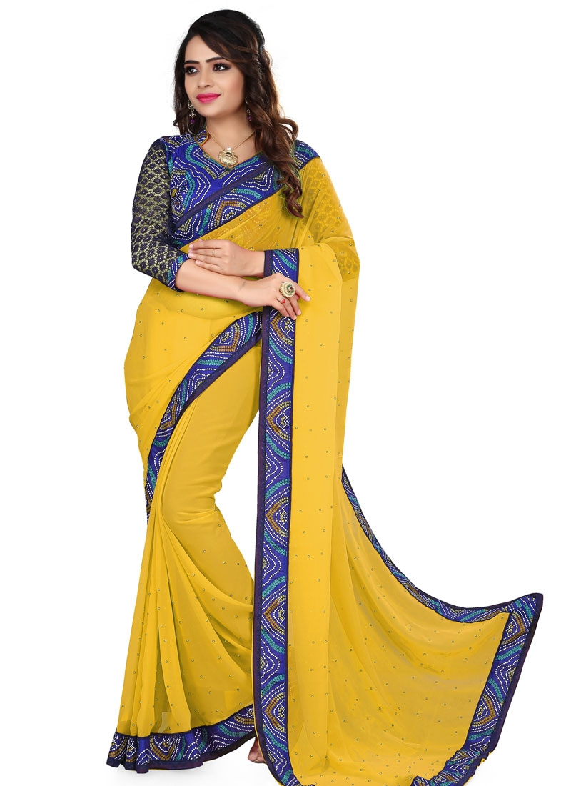 Unique Bandhej Print And Beads Work Casual Saree