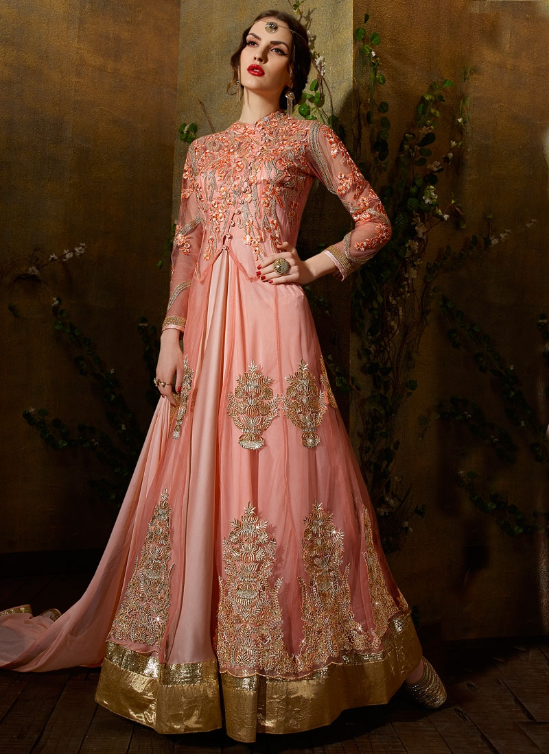 Unique Booti Work Floor Length Wedding Salwar Kameez