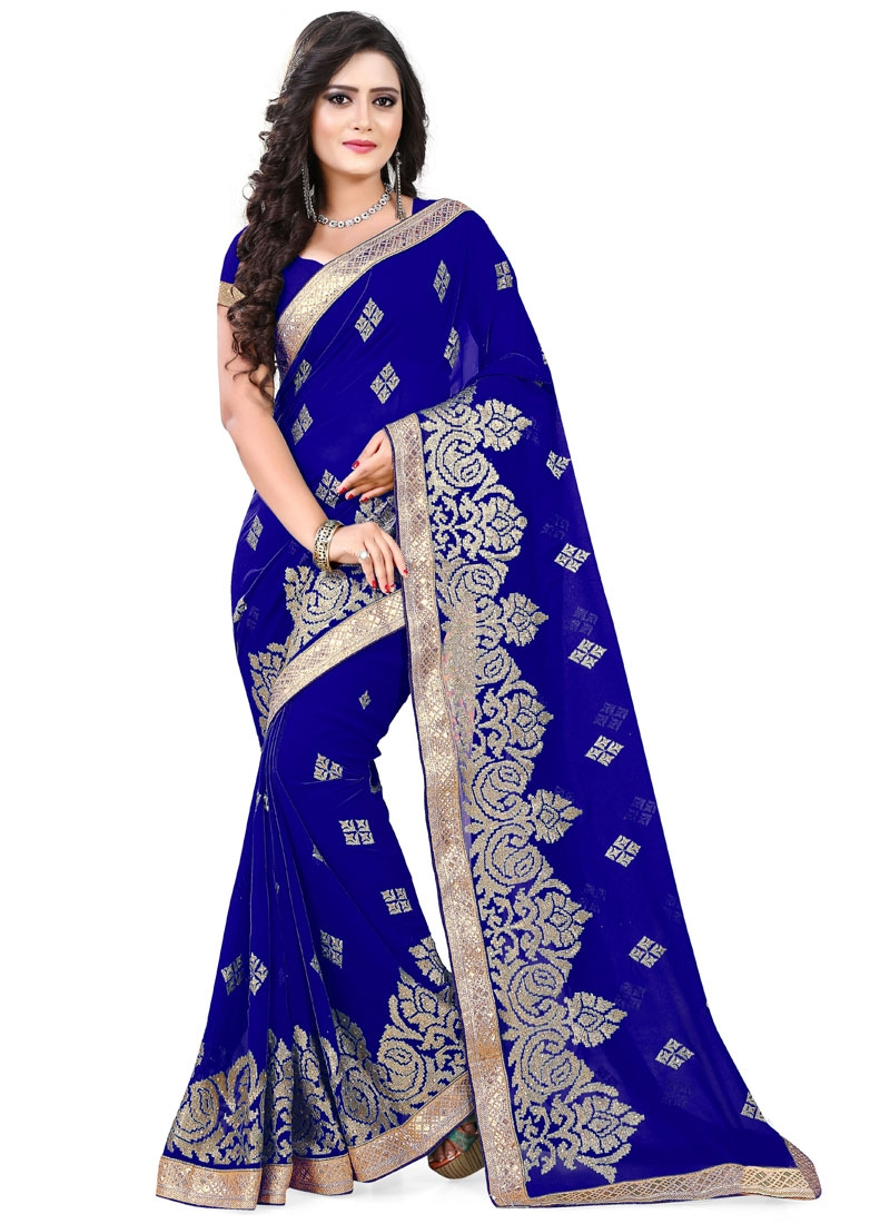 Unique Embroidery Work Faux Georgette Party Wear Saree