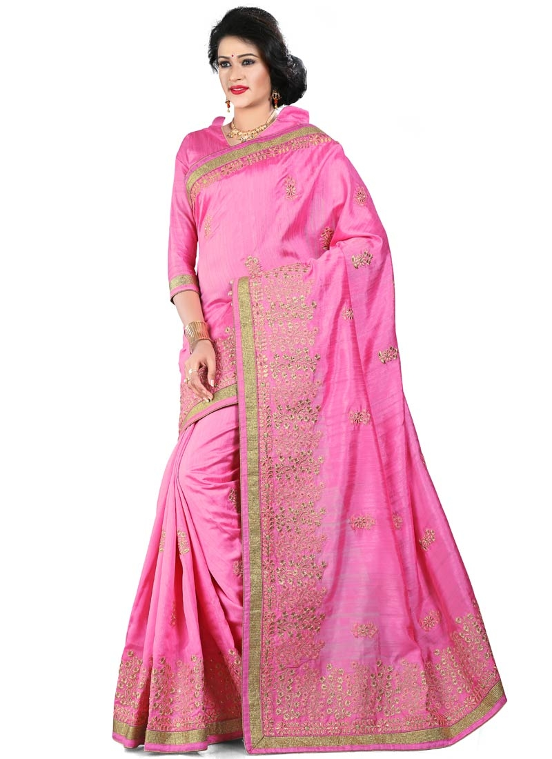 Unique Embroidery Work Hot Pink Color Party Wear Saree