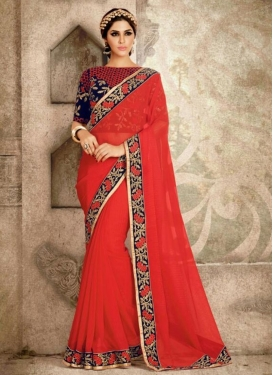 Unique  Faux Georgette Embroidered Work Classic Saree