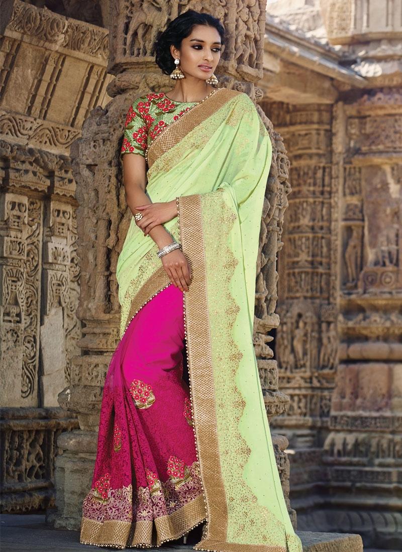 Unique Floral And Stone Work Half N Half Wedding Saree