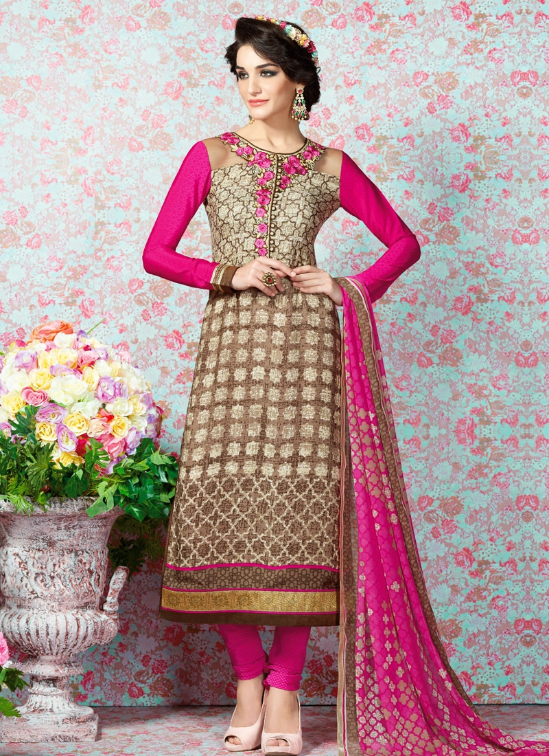 Unique Floral Work Churidar Salwar Kameez