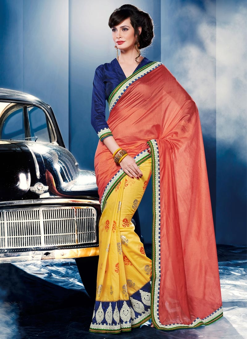 Unique Patch Border Work Half N Half Party Wear Saree