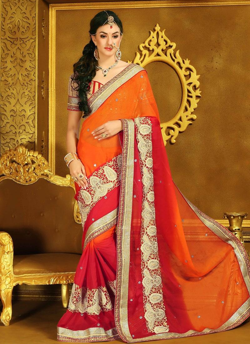Unique Red And Orange Color Faux Chiffon Wedding Saree