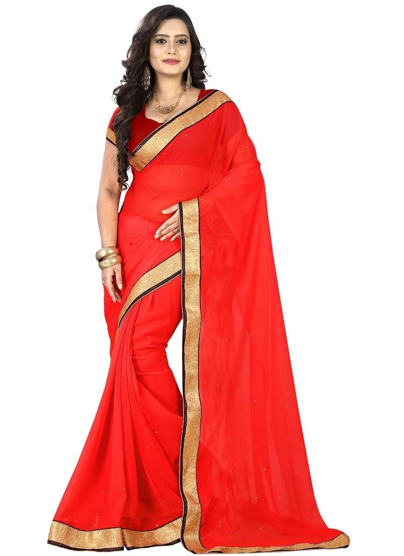 Unique Red Color Casual Saree