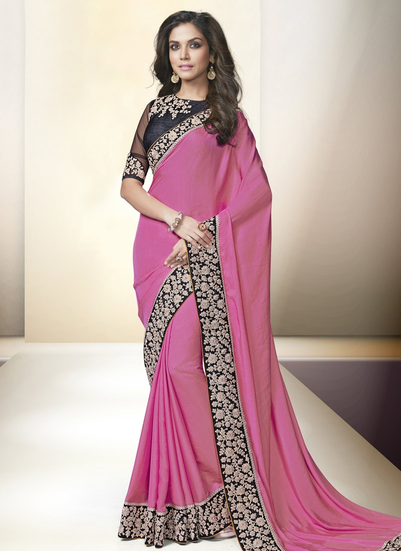 Unique Stone And Lace Work Party Wear Saree