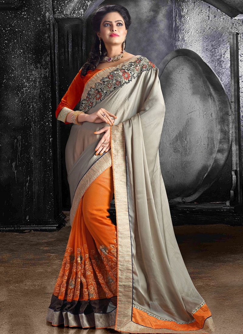 Unique Stone Work Half N Half Party Wear Saree