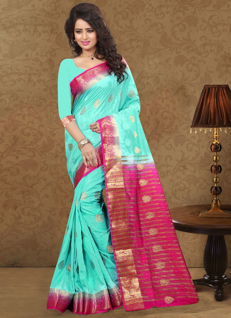 Unique Turquoise Color Party Wear Saree