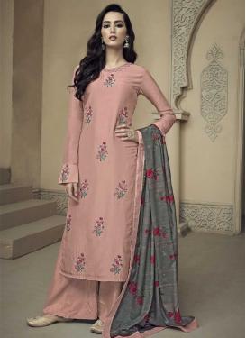Uppada Silk Embroidered Work Sharara Salwar Kameez