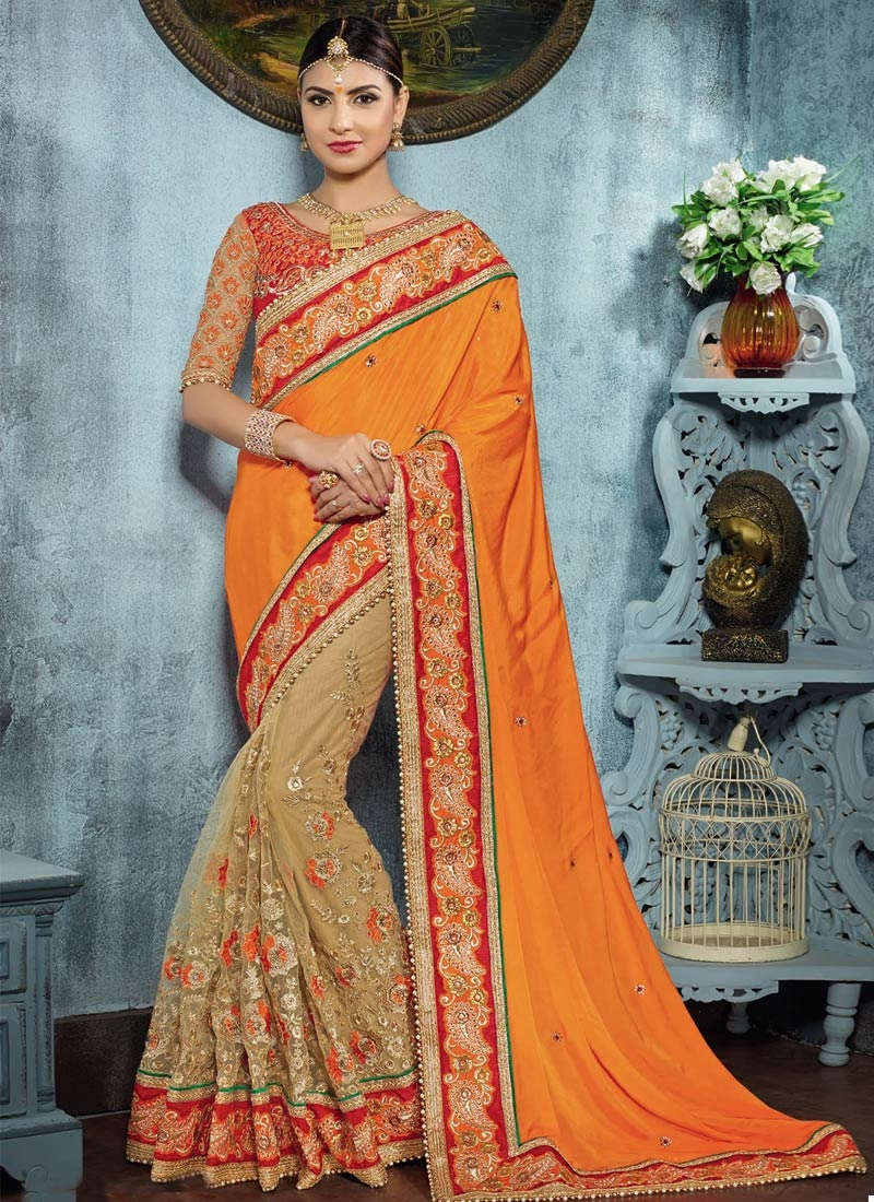 Urbane Beads And Resham Work Half N Half Wedding Saree