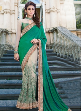 Urbane  Beads Work Beige and Green Net Designer Half N Half Saree