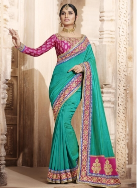 Urbane  Beads Work Fuchsia and Sea Green Designer Contemporary Style Saree