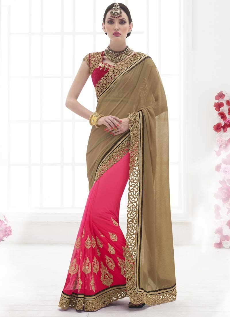 Urbane Booti And Stone Work Half N Half Wedding Saree