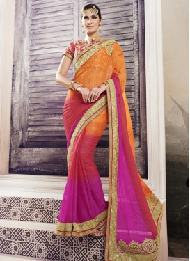 Urbane Booti Work Fancy Fabric Fuchsia and Orange Classic Designer Saree For Party