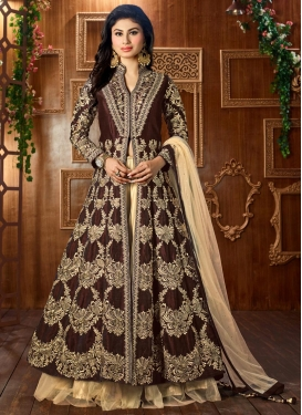 Urbane Booti Work Mouni Roy Long Choli Lehenga