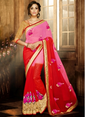 Urbane Booti Work Red Color Party Wear Saree