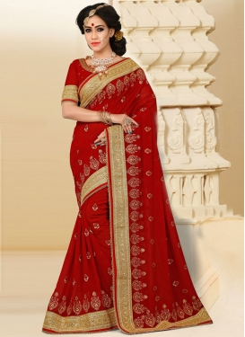 Urbane Crimson Beads Work Pure Georgette Designer Contemporary Saree For Ceremonial