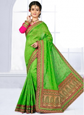 Urbane Embroidered Work Jute Silk Trendy Saree For Party