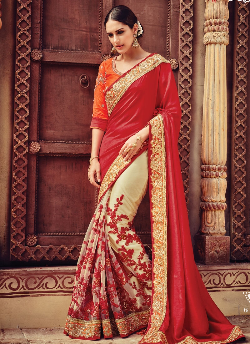 Urbane Embroidery Work Net Half N Half Bridal Saree