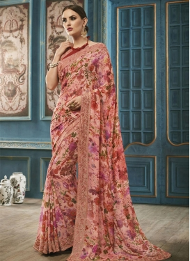 Urbane Faux Georgette Red and Salmon Contemporary Style Saree For Ceremonial