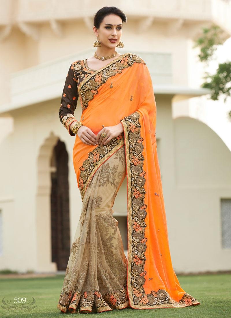 Urbane Lace Work Net Half N Half Bridal Saree