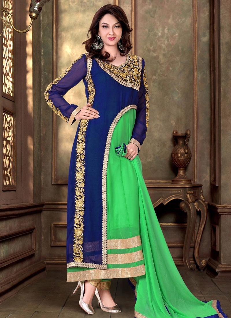 Urbane Mint Green And Navy Blue Color Long Length Designer Suit