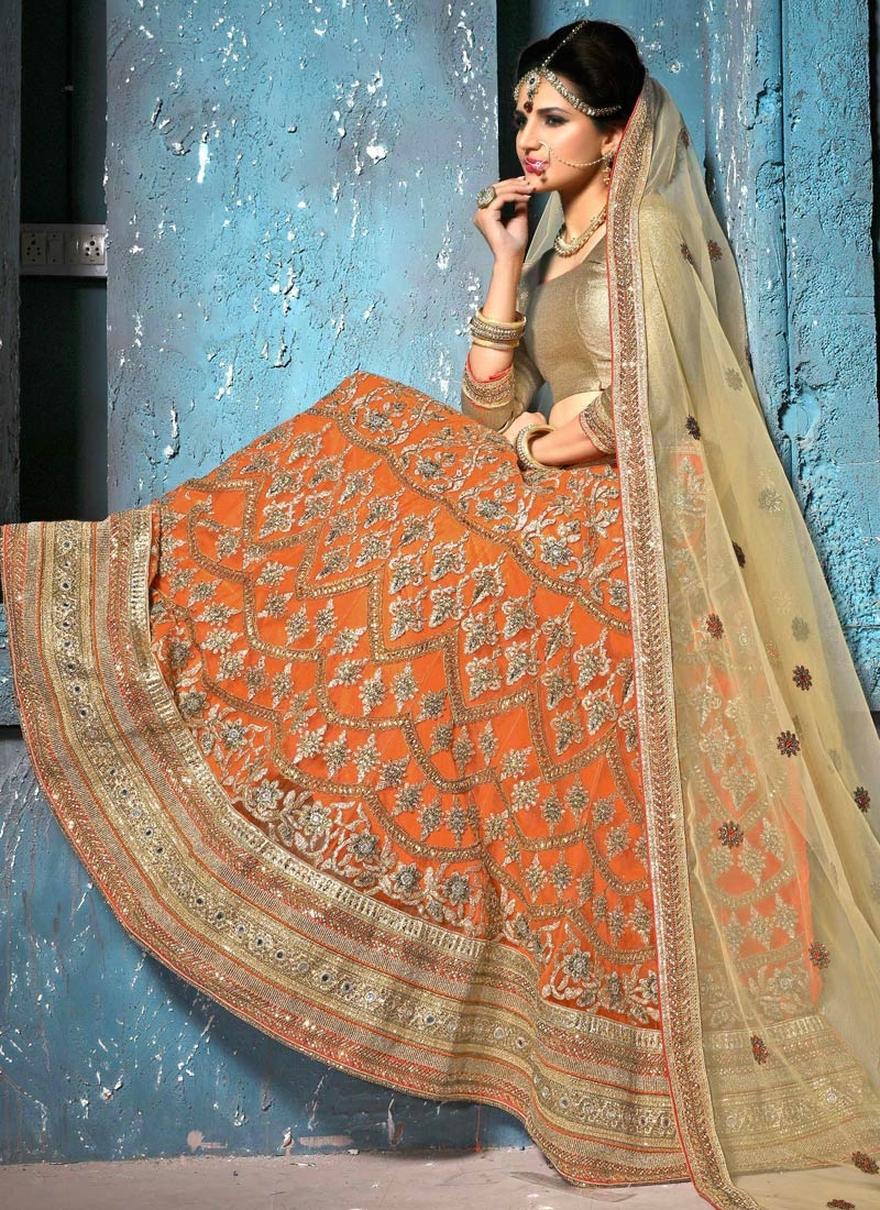 Urbane Mirror And Stone Work Bridal Lehenga Choli