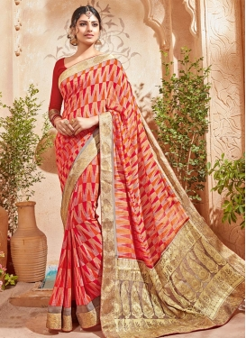 Urbane Orange and Red Trendy Classic Saree
