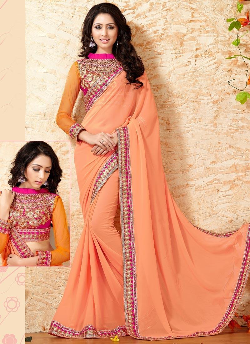Urbane Resham Work Peach Color Party Wear Saree
